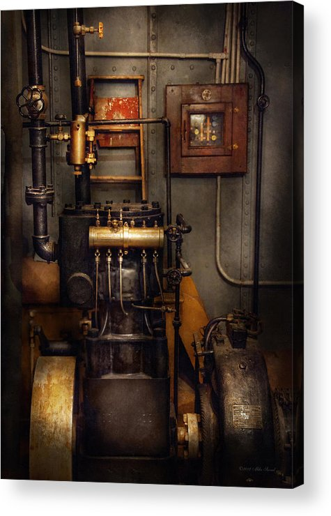 Hdr Acrylic Print featuring the photograph Steampunk - Back In The Engine Room by Mike Savad