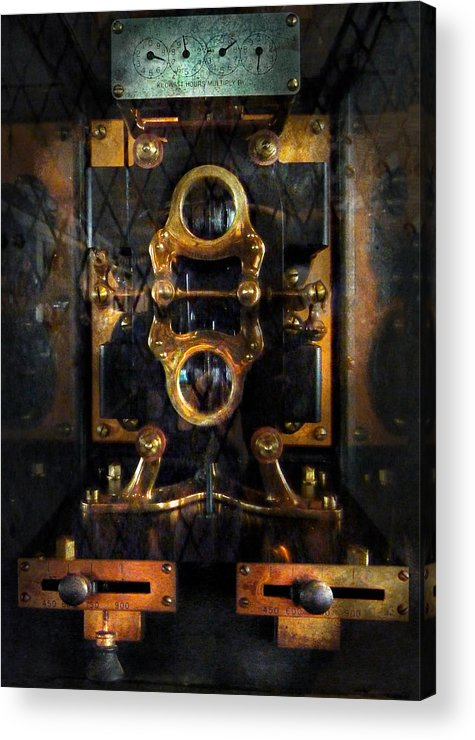 Hdr Acrylic Print featuring the photograph Steampunk - Electrical - The Power Meter by Mike Savad