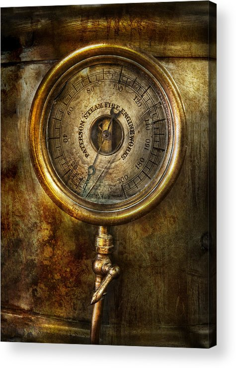 Hdr Acrylic Print featuring the photograph Steampunk - The Pressure Gauge by Mike Savad