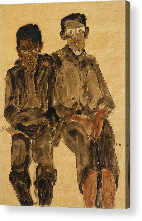 Austrian Art; Austrian Artist; Aversion; Boys Acrylic Print featuring the painting Two Seated Boys by Egon Schiele