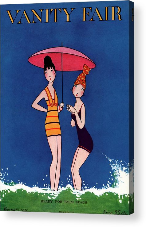 Illustration Acrylic Print featuring the photograph Vanity Fair Cover Featuring Two Women Standing by A. H. Fish