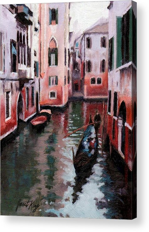 Cities Acrylic Print featuring the painting Venice Gondola Ride by Janet King