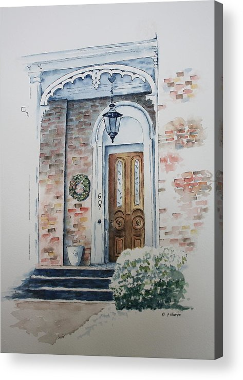Historic Home Acrylic Print featuring the painting Welcome Christmas by Patsy Sharpe