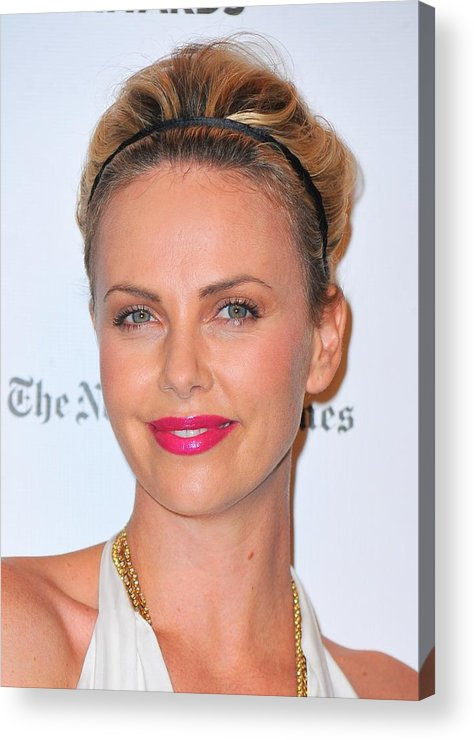 Charlize Theron Acrylic Print featuring the photograph Charlize Theron Wearing A Jennifer Behr by Everett