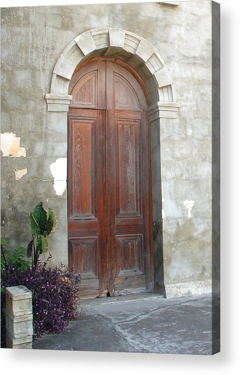 Church.door.stone.wood.flower.wall.plant.planter.old.brick.canvas Wrap.wrap.canvas.print.still.arch.crack.cement.ground.greeting Card.card.welcome.faith. Acrylic Print featuring the photograph Church Door by Kathy Gibbons