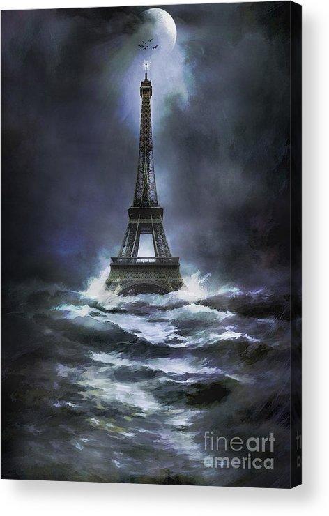 Tower Acrylic Print featuring the painting Eiffel  by Andrzej Szczerski