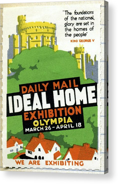 Ideal Home Exhibition Acrylic Print featuring the photograph Ideal Home Exhibition Stamp, 1920 by Cci Archives