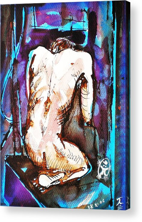 Nude Acrylic Print featuring the painting Male Nude by Ion vincent DAnu
