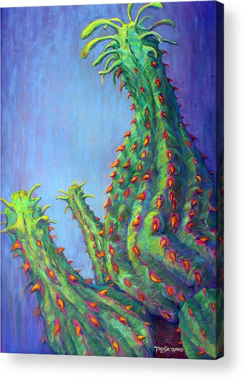 Cactus Acrylic Print featuring the pastel Ouch by Tanja Ware