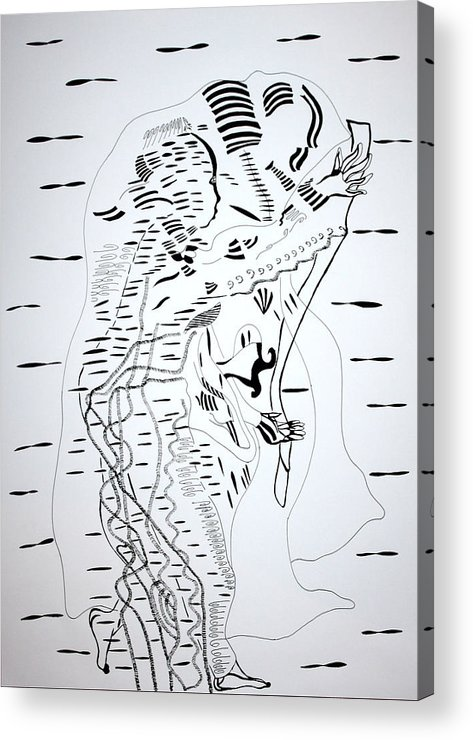 Jesus Acrylic Print featuring the drawing Saharawi Dance - Western Sahara by Gloria Ssali