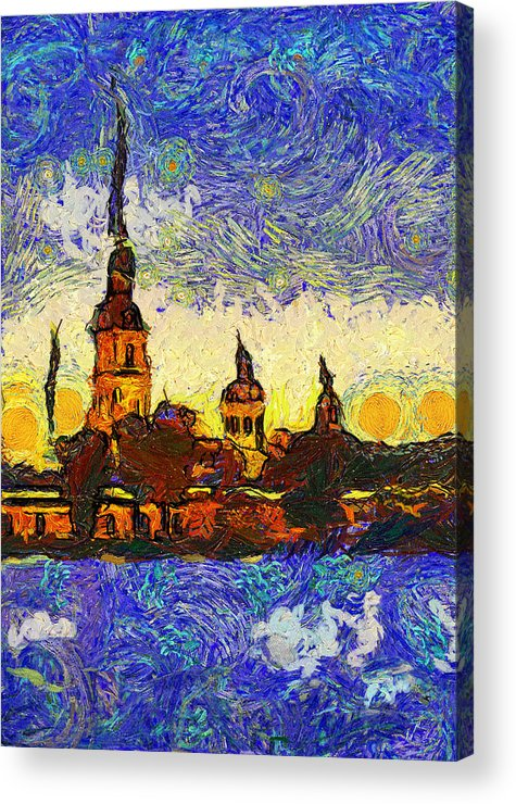 Saint Acrylic Print featuring the digital art Starred Saint Petersburg by Yury Malkov