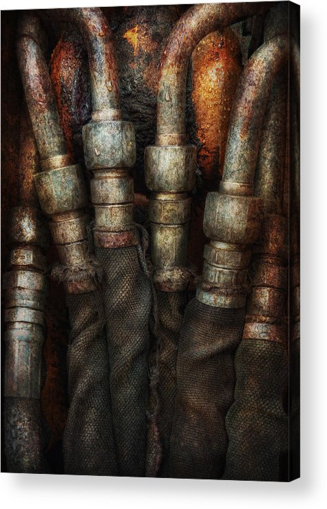 Hdr Acrylic Print featuring the photograph Steampunk - Pipes by Mike Savad