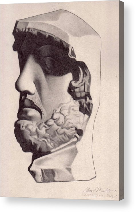 Classic Drawing Graphite Realist Man Head Sculpture Beard Greece Acrylic Print featuring the drawing The General by Stuart Monkhouse