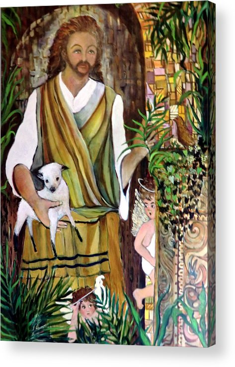 Jesus Acrylic Print featuring the painting The Good Shephard At The Door by Mindy Newman