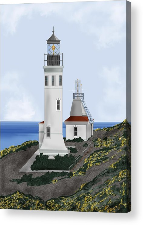 Lighthouse Acrylic Print featuring the painting Anacapa Lighthouse California by Anne Norskog