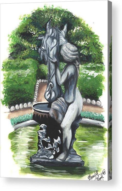 Fountain Acrylic Print featuring the painting The Hidden Fountain by Scarlett Royal