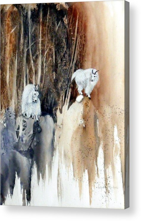 Mt. Goats Acrylic Print featuring the painting Its Not That Far by Lynne Parker