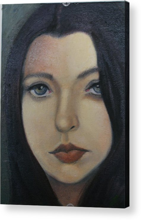 Girl Acrylic Print featuring the painting That Stare by Toni Berry