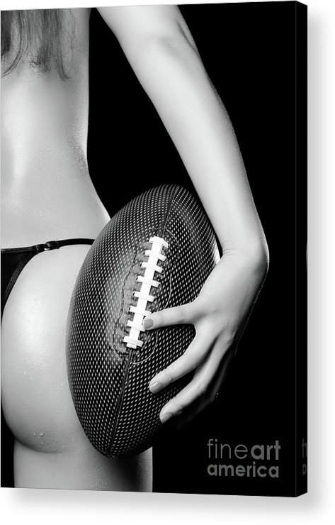 Football Acrylic Print featuring the photograph Woman With A Football by Oleksiy Maksymenko
