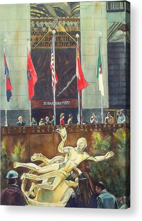 Manhattan Acrylic Print featuring the painting 30 Rock by June Conte Pryor