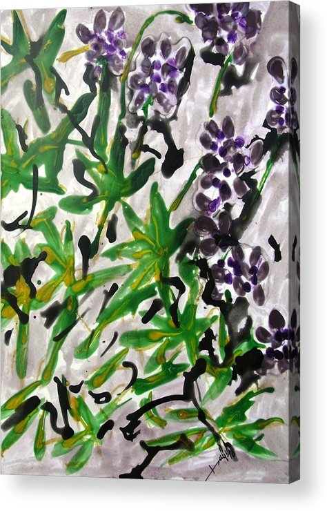 Abstract Acrylic Print featuring the painting Divine Flowers by Baljit Chadha