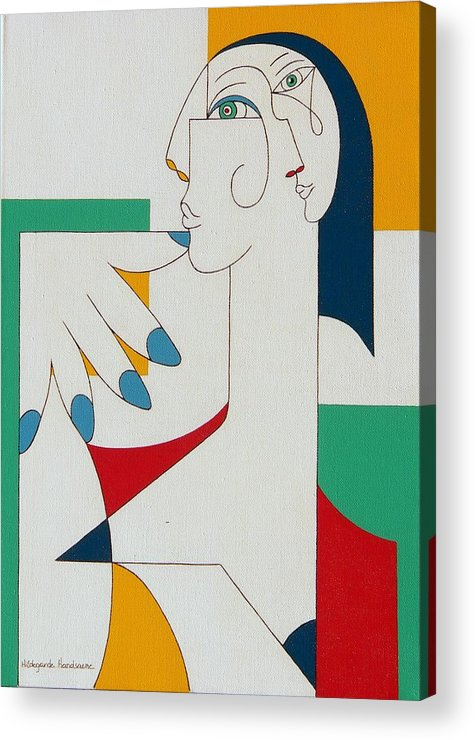 Portrait Acrylic Print featuring the painting 5 Fingers by Hildegarde Handsaeme