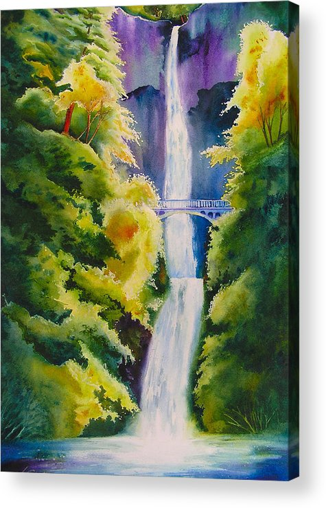 Waterfall Acrylic Print featuring the painting A Favorite Place by Karen Stark