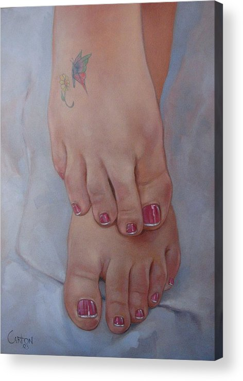 Pretty Feet Acrylic Print featuring the painting Aimee by Jerrold Carton