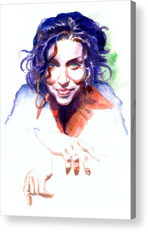 Ani Difranco Acrylic Print featuring the painting Ani Difranco by Ken Meyer