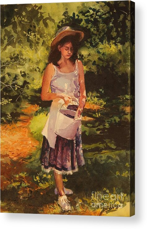 Girl Acrylic Print featuring the painting Blueberry Girl by Elizabeth Carr