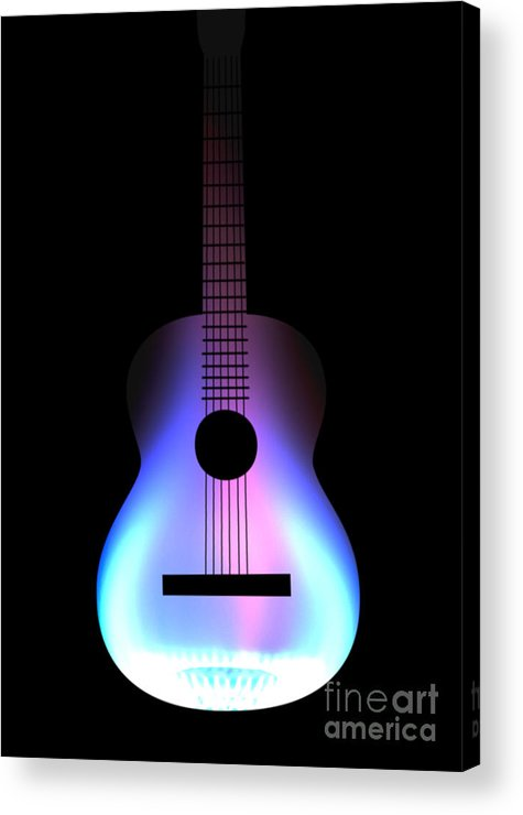 Acoustic Guitar Acrylic Print featuring the drawing Blues Guitar On Fire by Andy Smy
