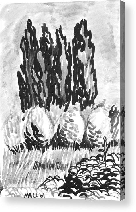 Trees Acrylic Print featuring the drawing Bulk Of Green by Vitali Komarov