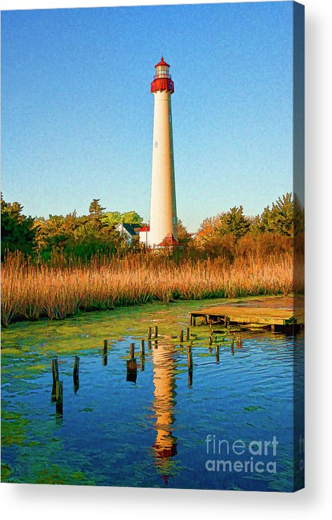 Reflection Acrylic Print featuring the digital art Cape May Point Lighthouse by John Steiger
