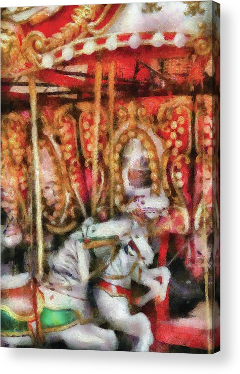 Savad Acrylic Print featuring the photograph Carnival - The Carousel - Painted by Mike Savad