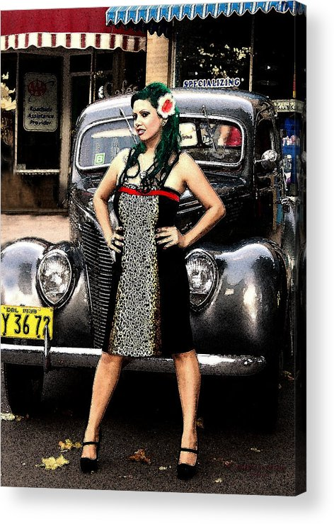 Girl Woman Car Classic Acrylic Print featuring the photograph Classic Body by Lawrence Costales