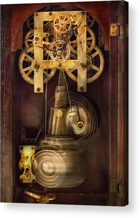 Suburbanscenes Acrylic Print featuring the photograph Clockmaker - The Mechanism by Mike Savad
