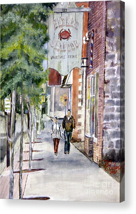 Ohio Acrylic Print featuring the painting Elyria Seafood by CJ Rider
