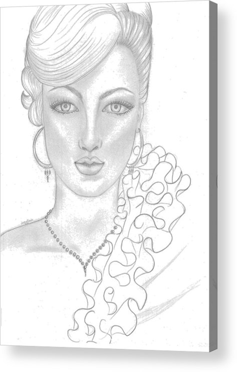 Gilr Acrylic Print featuring the drawing Fashion Girl by Lorena Farias