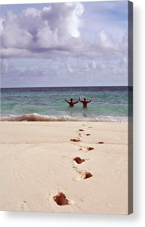 Bermuda Acrylic Print featuring the photograph First One In by Lori Goodwin