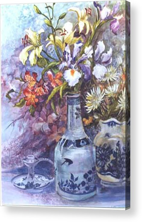 Floral;delft;blue;mauves;still Life;iris Acrylic Print featuring the painting Floral With Delft Ware by Lois Mountz