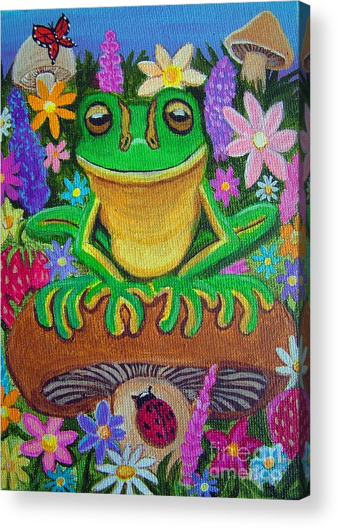 Frog Artwork Frog Painting Whimsical Artwork Green Frogs Acrylic Print featuring the painting Frog On Mushroom by Nick Gustafson