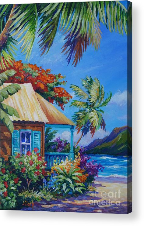 Princeville Acrylic Print featuring the painting Garden Isle by John Clark