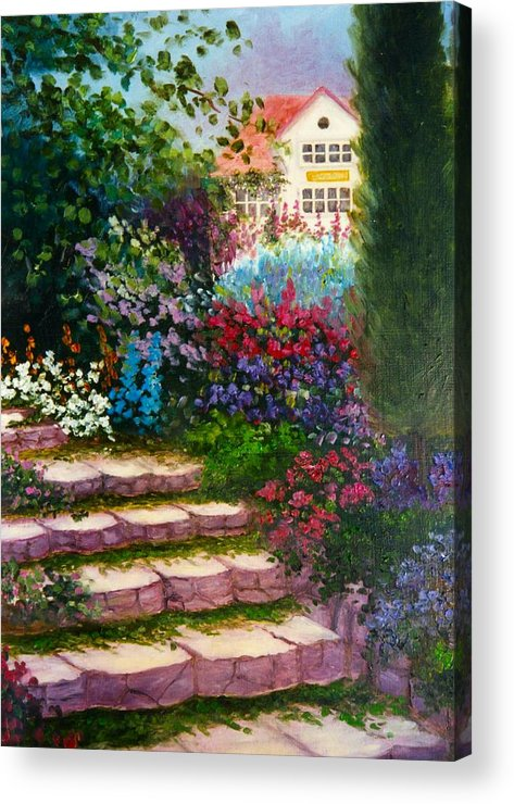 Cottage Acrylic Print featuring the print Garden Steps by Jeanene Stein