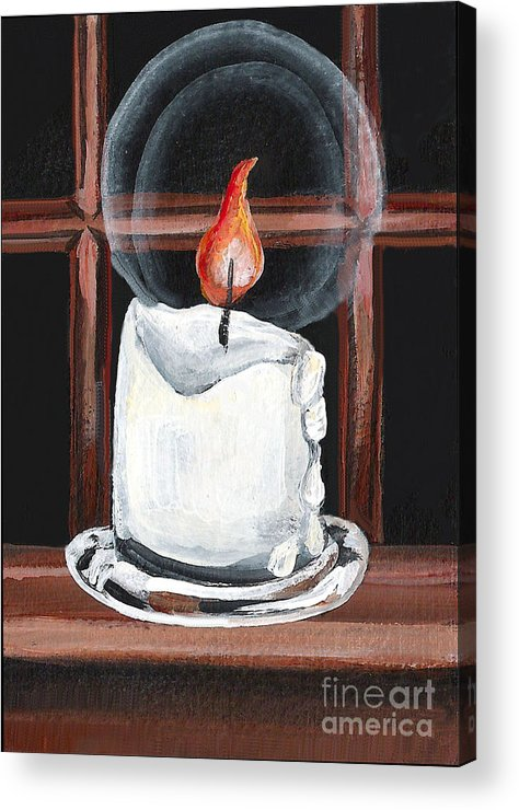 Candle Acrylic Print featuring the painting Glowing Candle In Window by Elaine Hodges