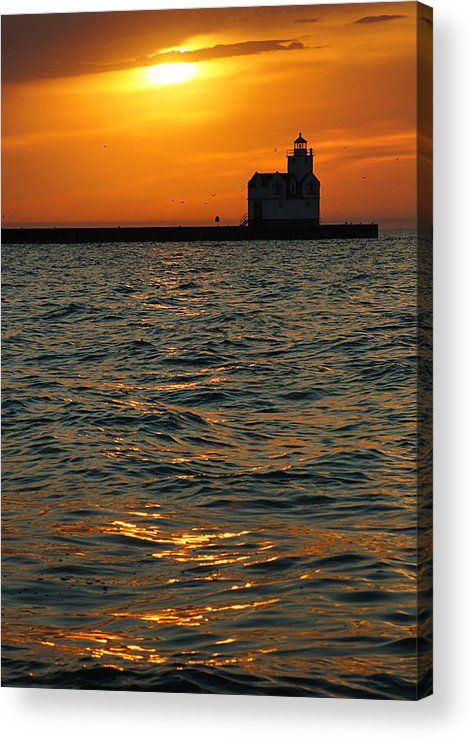 Lighthouse Acrylic Print featuring the photograph Gold On The Water by Bill Pevlor