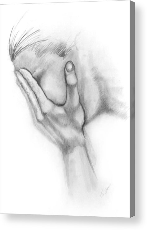Grief Acrylic Print featuring the drawing Grief by John Clum