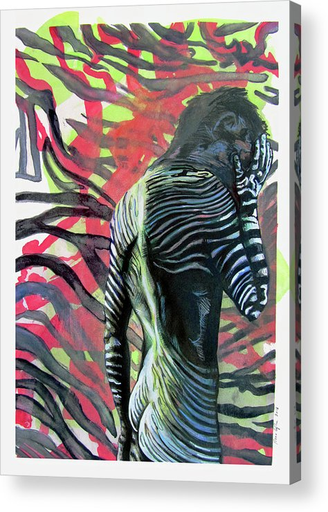 Archetypes Acrylic Print featuring the painting Rising From Ashes Zebra Boy by Rene Capone