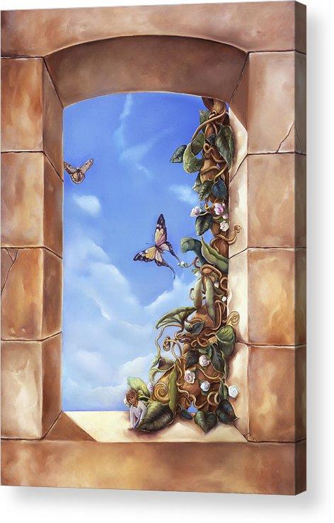 Jack And The Beanstalk Window Acrylic Print featuring the painting Jack And The Beanstalk Window by Mary Johnson