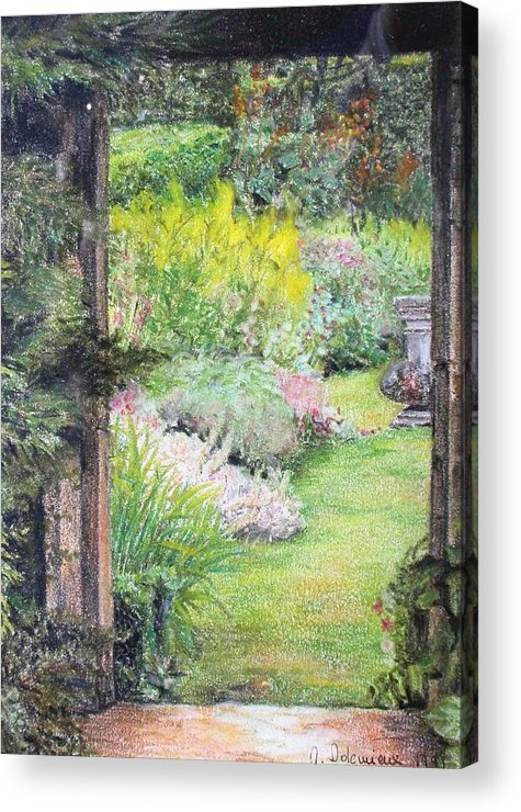 Landscape Acrylic Print featuring the drawing Jardin by Muriel Dolemieux