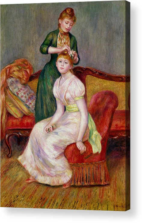 Coiffure Acrylic Print featuring the painting La Coiffure by Renoir